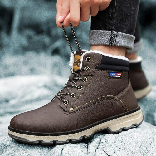 UPUPER Winter Men Boots Leather High Top Ankle Boots Warm Casual High Quality Men Snow Boots With Fur Plush Winter Shoes Men