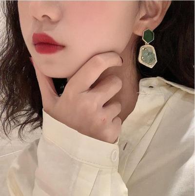 AOMU Korean Geometric Palace Style Natural Stone Rainstone Drop Earrings For Women Trend Shell Rhombus Metal Pendientes Серьги