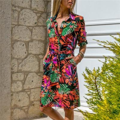 Long Sleeve Shirt Dress 2020 Summer Chiffon Boho Beach Dresses Women Casual Striped Print A-line Party Dress Vestidos