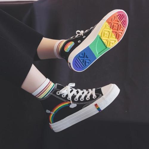 Women Vulcanized Shoes 2020 High Top Sneakers Women Shoes Rainbow Canvas Shoes Flats White Black Tenis Feminino Basket Femme