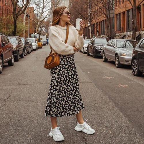 Daisy print maxi long skirt women high waist boho black skirt high street chic A-line beach skirt faldas 2020 autumn winter