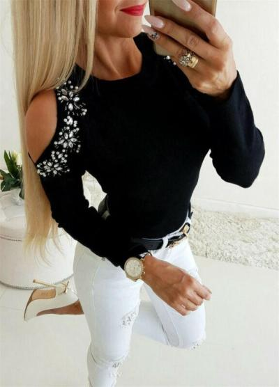 2020 Spring Winter Fashion Women O Neck Sweater Ladies Knitted Ribbed Sequined Polka Dots Mesh Long Sleeve Jumper Top Sweater