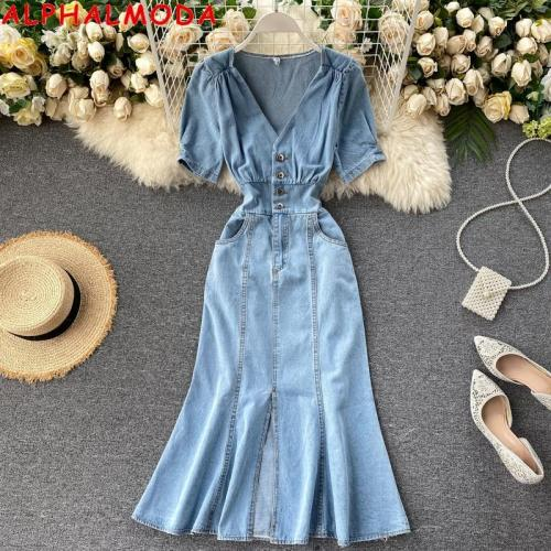 ALPHALMODA V-Neck Puff Sleeve High Waist Mermaid Dress Front Slit Ladies Bleach Fashion Chic Denim Dress Trendy Mermaid Dress