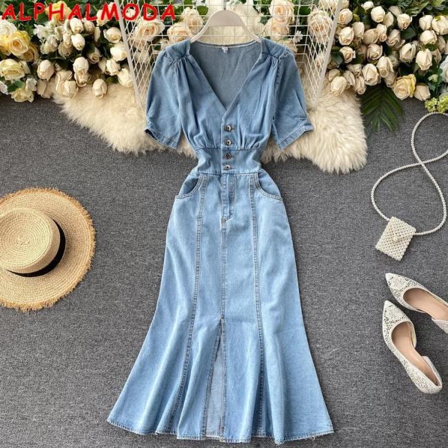 ALPHALMODA V-Neck Puff Sleeve High Waist Mermaid Dress Front Slit Ladies Bleach Fashion Chic Denim Dress Trendy Mermaid Dress
