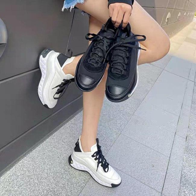 Women White Sneakers Fashion Flat-bottomed Slope Heel Sports Women's Shoes Spring Autumn New Leather Lace-up Casual Shoes Women