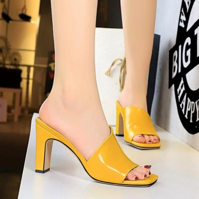Fashion Women Sandals Casual Hollow Out High Heels Square Toe Sandals 2020 Summer Female Outdoor High Heels Silppers Party Shoes