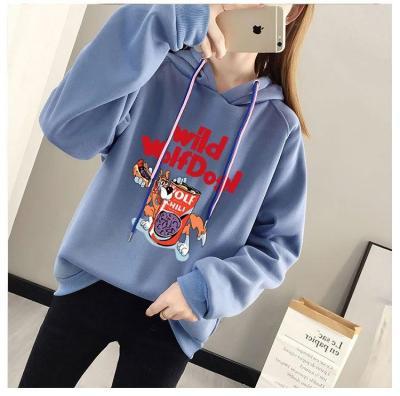 New winter warm ladies plus velvet printed letters students casual wild cartoon hooded pullover sweatshirt women