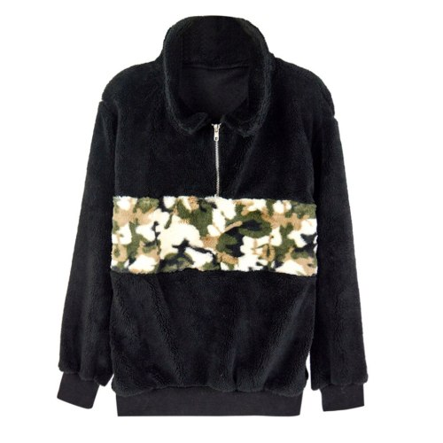 Plush Camouflage Patchwork Sweatshirt Turtleneck Autumn Long Sleeve Zipper Pullover Black Womens Casual Fluffy Warm Tops #Y3