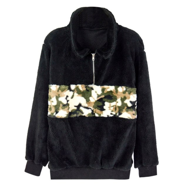 Plush Camouflage Patchwork Sweatshirt Turtleneck Autumn Long Sleeve Zipper Pullover Black Womens Casual Fluffy Warm Tops #Y3
