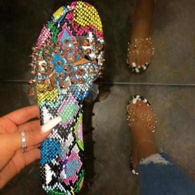 Summer Rivet Rhinestone Flip Flop Slippers Shoes Women Outdoor Beach Flat Sandals Casual Snake Pattern Open Toe Home Slippers