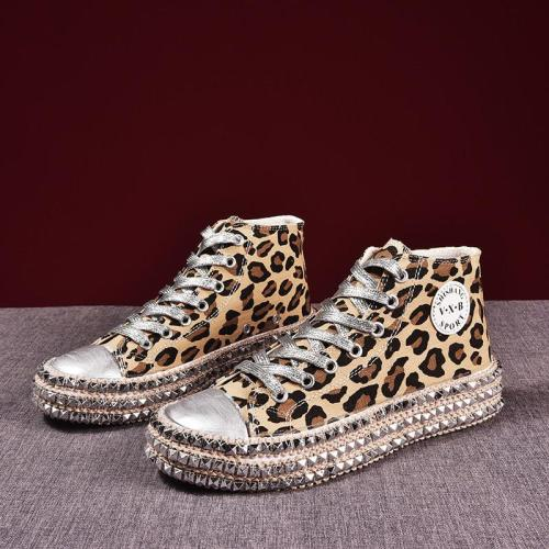 Women sneakers Sexy Leopard Print Fashion Rivets Women Canvas Shoes Korean Leisure Lace-Up Low High Top Sneakers basket Femme