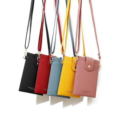Women Cell Phone Holders With Strap Small Crossbody Purse Credit Card Holder Solid PU Hasp Wallet for Girls