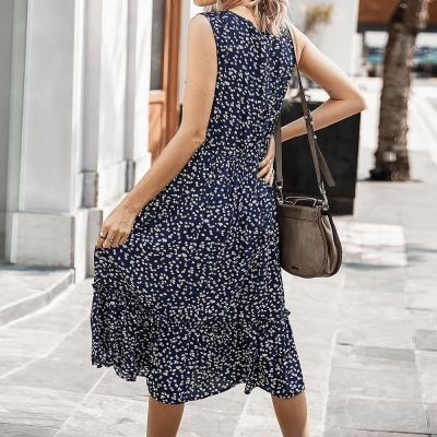 Women Floral Print Dress Sleeveless Beach Sundress Fashion Ladies Midi Dresses V Neck Summer A-Line Dress For Female D30