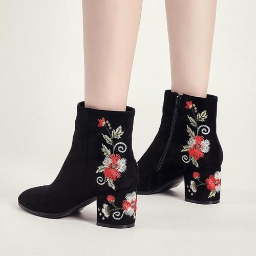 2020 Winter Shoes Women Ankle Boots Back Embroide Boots Side Zipper High Heels Botas Mujer Chunky Heels Zapatos Mujer N7762