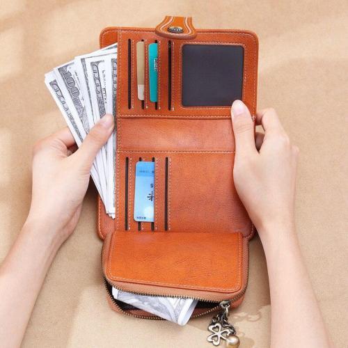 New Vintage Style Women Small Wallet Cowhide Leather Wallet Female Short Wallet Women Coin Purse Sun Flower Hardware Pendant