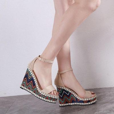 Fashion Womens Shoes 2020 Roman Sandals High Heels Clogs Wedge All-Match Suit Female Beige Espadrilles Platform Muffins shoe