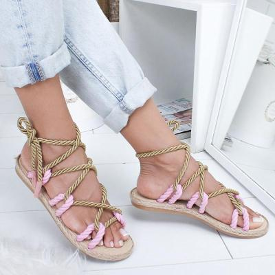 Women Sandals 2019 Fashion Summer Shoes Woman Flat Sandals Hemp Rope Lace Up Gladiator Sandals Non-slip Beach Chaussures Femme