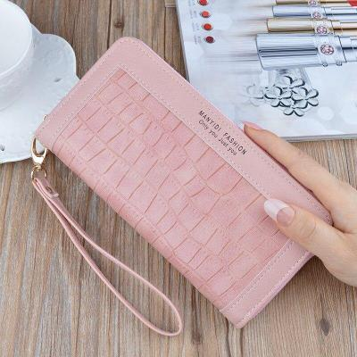 New arrival crocodile leather wallet female long zipper mobile phone bag fashion stitching large-capacity clutch bag coin purse