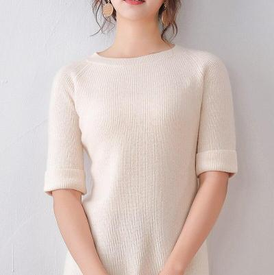 real wool sweater womens half sleeves soft spring pullover round neck solid casual fashion girls  female sweaters