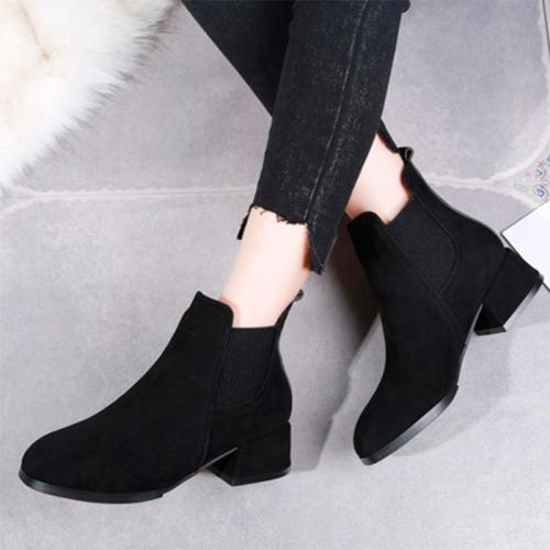 Plus Size 35-41 Women Ankle Boots Faux Suede Chelsea Boots Black Woman Shoes Fashion Low Heels Boots Zapatos Mujer 6964