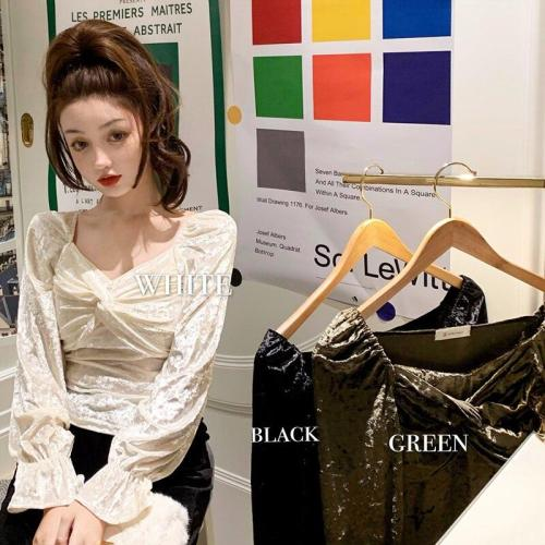 Autumn/winter Korean Short Long-sleeved New Light-ripe Velvet Women Slimaround Bottomed T-shirts Women Fashion Streetwear 2020