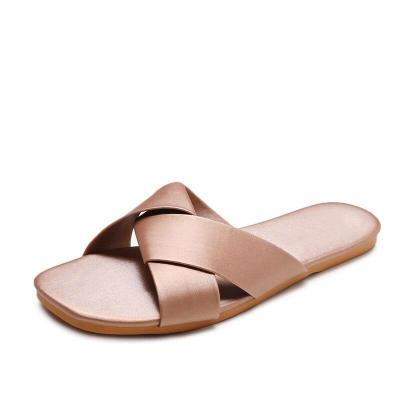 Women Summer PU Leather Slipper Ladies Solid Beach Non Slip Sandals Female Slip On Light Comfort Outdoor Woman Slippers 2020 Hot