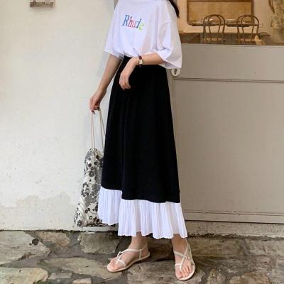 Black White Patchwork Chiffon Skirts Women Elastic Waist Pleated Skirt A-Line Vintage Elegant Summer Long Midi Skirts 2020 W924