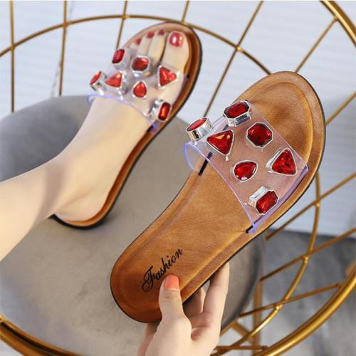 Summer Women Fashion Rhinestone Slides Leisure Ladies Wild Flat Shoes Shiny Outdoor Slippers Female Beach Shoes Woman Sandals