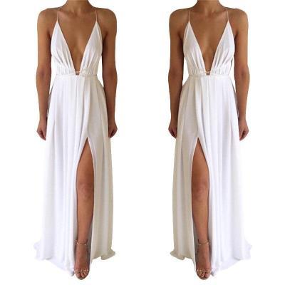 Summer Maxi Dress Women Solid Color Sexy Deep V-Neck Sleeveless Spaghetti Strap Backless High Split Long Sundress Vestidos