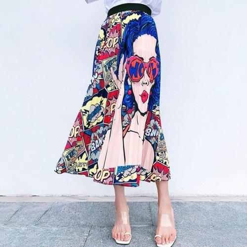 Cartoon Girl Print Beach Boho Skirt Plus Size Long Maxi Skirt Summer High Elastic Waist Pleated Skirt Korean Vintage Streetwear