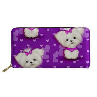 3D Maltese Dog Floral Print Wallets Women Luxury Wallet High Quality Long Leather Purse For Youth Girls Gift Card Holder Cases