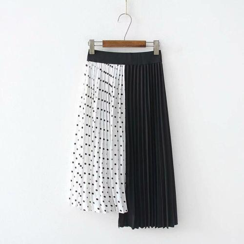 Patchwork Dot Print Skirts Women Korean Pleated Skirts Sexy Design Summer Long Maxi Skirts Plus Size Elastic Waist Long Harajuku