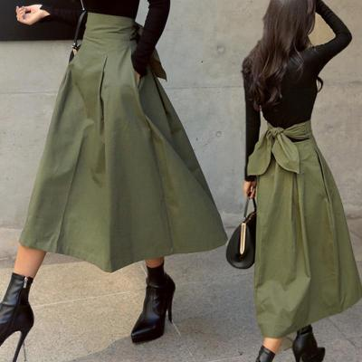 shintimes Skirts Womens Korean Fashion Solid Color Big Swing Ladies Skirt Long Skirt 2020 Autumn Wild High Waist Bow Slim Skirts