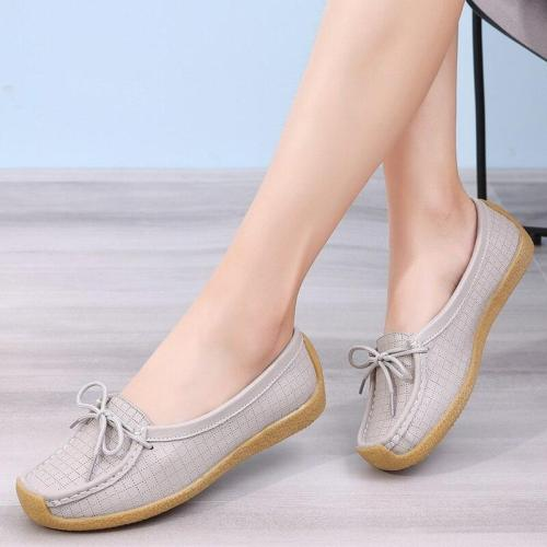 Genuine leather shoes women Snail shoes TPR Non slip Ladies shoes Plus size 42 Flat shoes women Fashion Gingham Comfortable