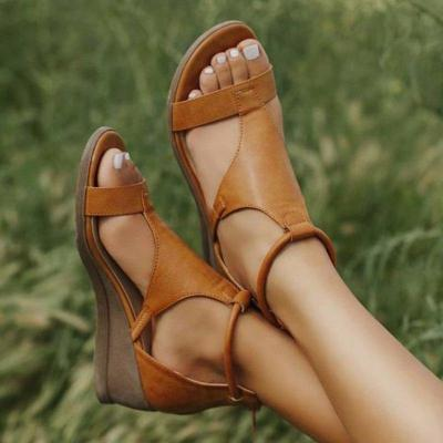 2020 Women Summer Sandals Med Heels Wedges Shoes Woman vintage PU Leather Plus Size Gladiator Sandals