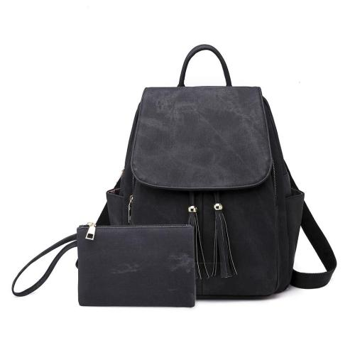 PU Leather Backpack Bag For Women Shoulder-bag Solid Color Tassel Female Bagpack Travel Ladies Backpack Bags With-Purse