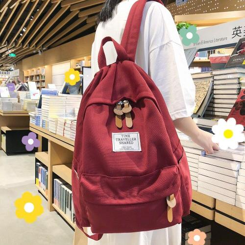 Student Female Fashion Backpack Cute Women School Bags Teenage Girls Cotton Canvas Backpacks Kawaii Ladies Luxury Bag Book Brand