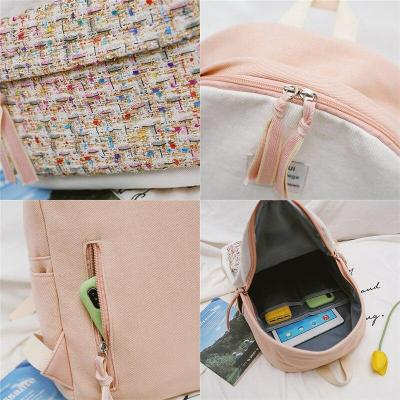 Woven Panelled color women backpack teenage girl Cotton Fabric school satchel female Casual fashion Student bags harajuku ladies