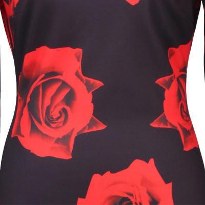 2020 European and American summer new ladies rose print pencil dress 1113