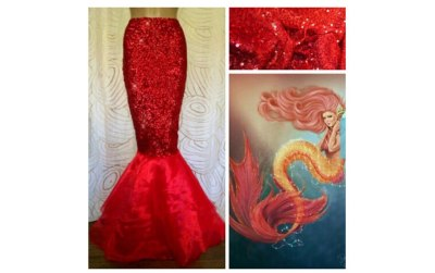 Sexy Mermaid Womens Halloween Costume Fancy Party Sequins Long Skirts High Waist High Quality Hot Sale Tail Skirt