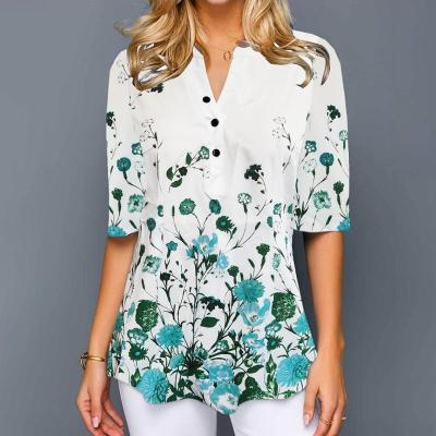 Plus Size 4xl 5XL Shirt Blouse Female 2020 Spring Summer New Tops V-neck Half Sleeve Lace Splice Print Boho Women shirt