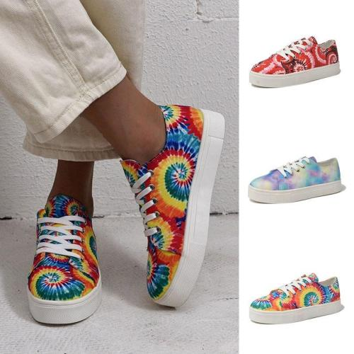 Fashion Tie Dye Rainbow Color Single Shoes Lace Up Sneakers Colorful Flat Shoe Classic Women Autumn Causal Platform Shoes