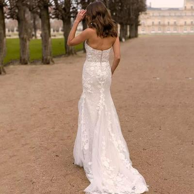 Eightree Flower Lace appliques Wedding Dress Mermaid Tulle Strapless Bride Gown robe de soiree Backless Beach Wedding Dress 2020