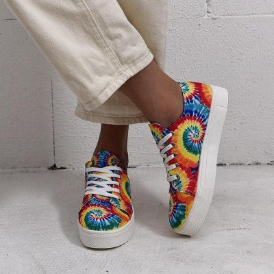 Fashion Tie Dye Rainbow Color Single Shoes Lace Up Sneakers Colorful Flat Shoe Classic Women Autumn Causal Platform Shoes