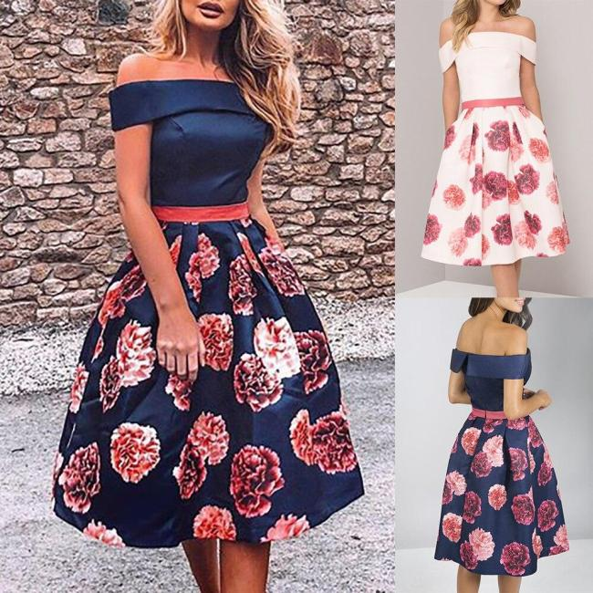Floral Printed Women Summer Dress Slash Neck Patchwork Ladies Midi Dress Sundress Fashion A-Line Formal Female Dresses D40