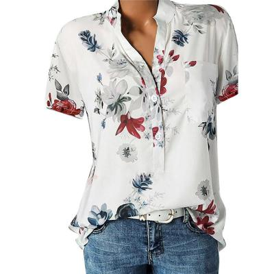Women Blouse Pocket Printing Plus Size Women Cloth Casual Short Sleeve Blouse Tops 2020 Summer Easy Drop Shipping Women Clothing