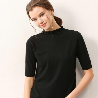 women knitted tshirt tops O-neck half sleeves summer ladeis short shirt fall spring core yarn high elastic female sweaters