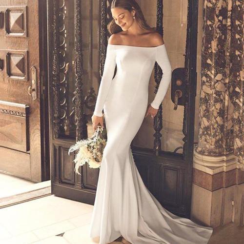 Eightree Off Shoulder Mermaid Wedding Dresses Long Sleeves Satin Wedding Gown Backless Simple Boho Bride Dress Vestido de noiva