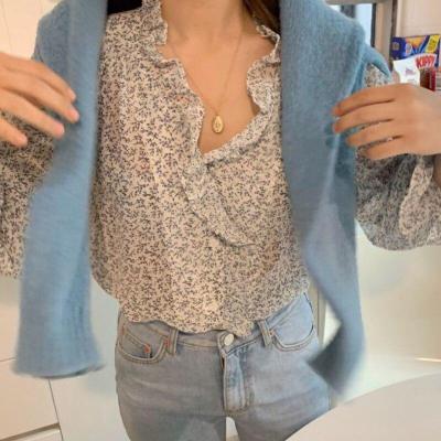 Korean Retro Floral V-neck Wooden Ear Single-Breasted Loose Long-Sleeved Chiffon Shirts Women Blouses Fashion Streetwear 2020