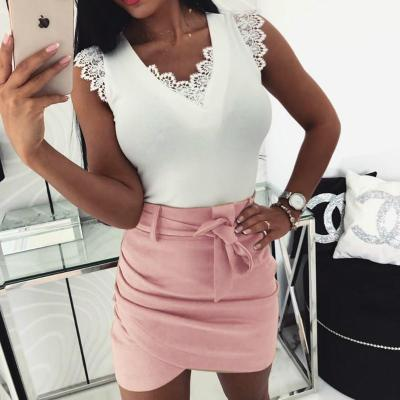 sexy mini skirt Fashion Women Solid Ruffles Bandage Short Skirt Pleated Beach Irregular Pencil Bodycon Evening Party Wrap skirt